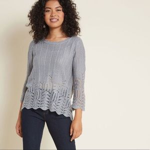 ModCloth Nostalgic Knits Scalloped Sweater L